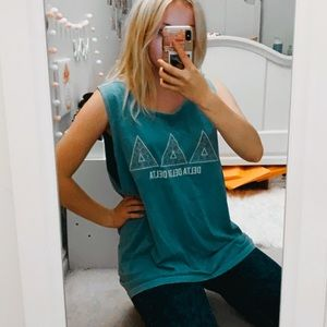 Tri Delta Light Blue Comfort Colors Muscle Tee